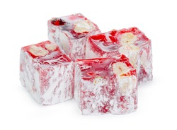 Close up of red Turkish Delight sweets isolated on white
