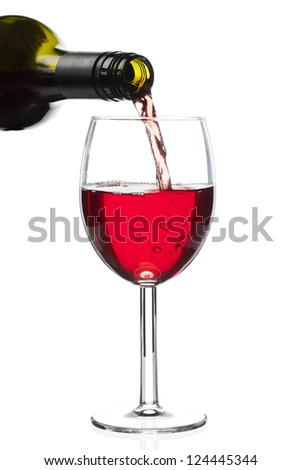 Close-up of red wine pouring down from bottle to glass