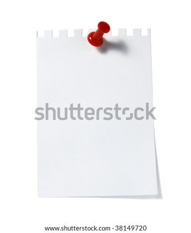 close up of  reminder with red push pinon white background with clipping path