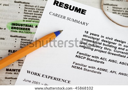 close up of resume form with ads concept for unemployment.