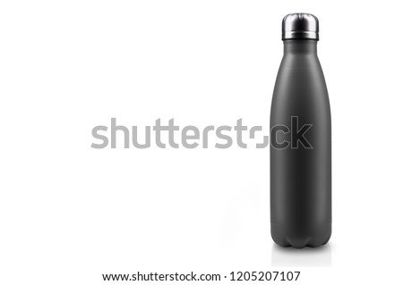Close-up of reusable, steel thermo water bottle, black matte of color, isolated on white background with copy space. Zero waste. Say no to plastic disposable bottle. Environment concept.