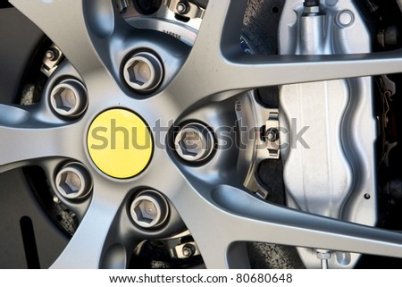 Close up of rims from a sport car - stock photo