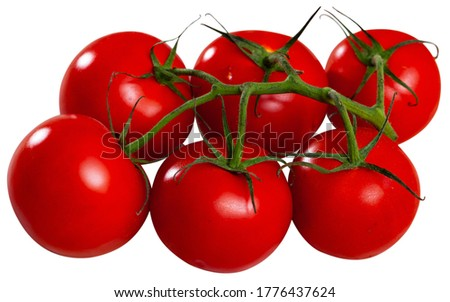 Close up of  ripe red tomatoes. Isolated over white background