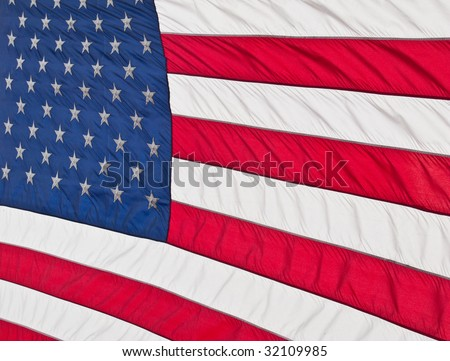 close up of rippled American Flag