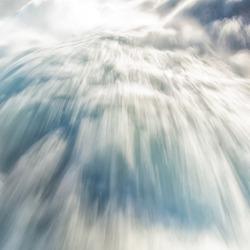 Close up of roaring Rhine Falls in Switzerland