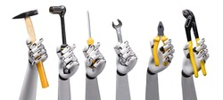 Close-up Of Robot's Hand Holding Work Tools On White Background