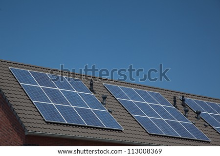 Close up of roof with solar panels