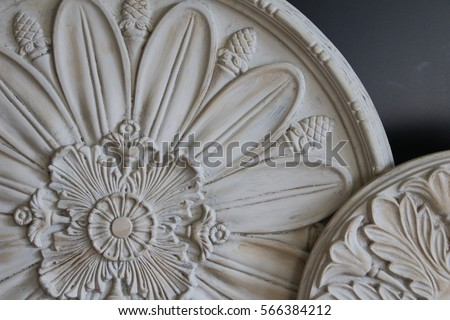 Close Up of Round / Circular Decorative Ceiling Medallions Architectural Elements, Against Black Background (HDR Image)