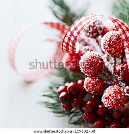 Close up of rustic christmas decoration