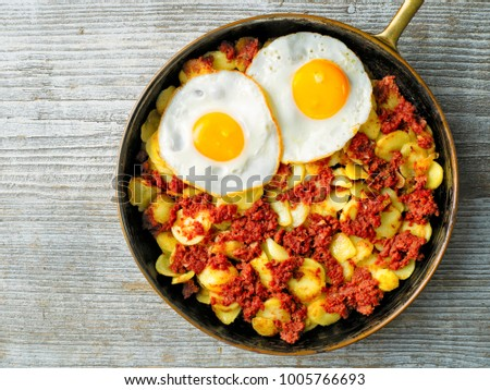 close up of rustic corned beef hash