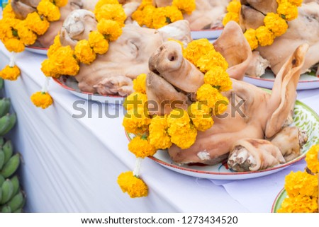 Close-up of sacrifice pigs head decorated with yellow flowers on the table for offering to the god or angel in mixed culture of Buddhist and Hindu religion in Thailand. #1273434520
