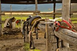 Close up of saddle in a stable, in Castelluccio, Umbria, Italy