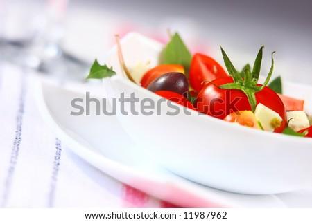 close-up of salad (shallow DOF for romantic softness)