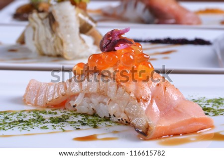 Close-up of salmon sushi