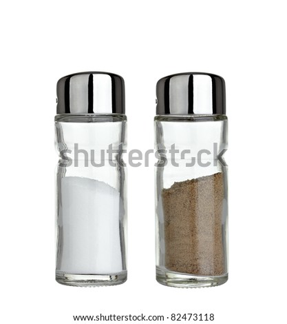 close up of  salt and pepper on white background