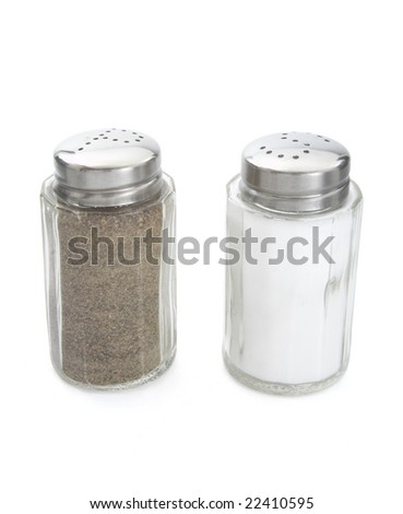 close up of salt and pepper on white background with clipping path