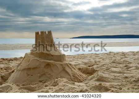 Close-up of sandcastle on Bournemouth beach, Dorset (UK)