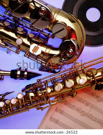 Close-up of Saxophones