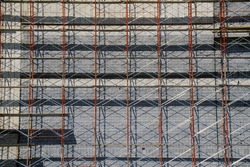 Close-up of scaffolding on building renovation, Ft. Worth, TX