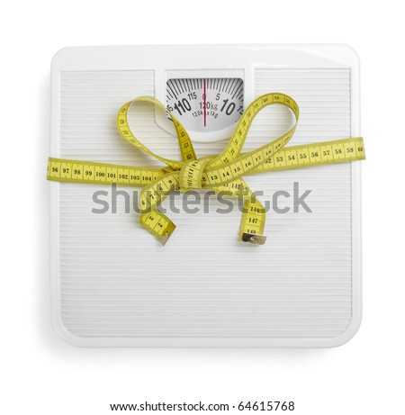 close up of scale and  tape  on white background with clipping path