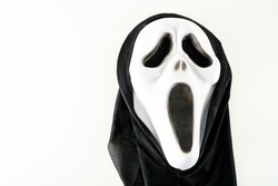 Close-up of screaming carnival mask Object on a White Background