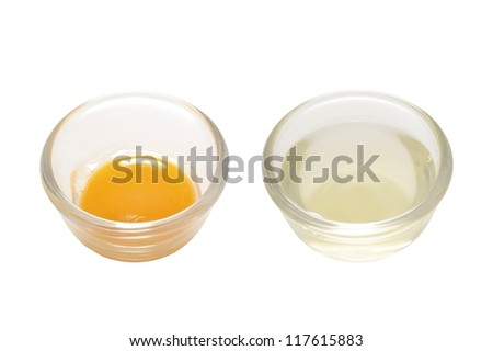 close up of separated egg white and yolk