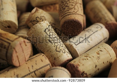 Close up of several wine corks as a background