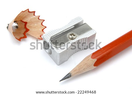 close up of sharpener and red pencil on white background, with clipping path, shadow not included