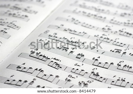 close-up of sheet music of a transcription of a jazz improvisation