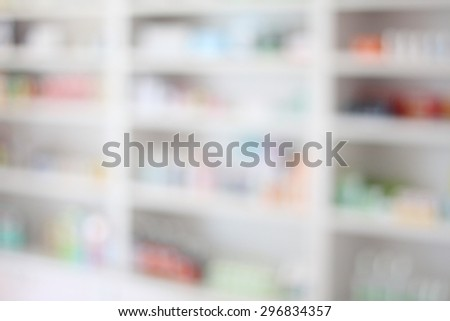 Close up of shelves of drugs in the pharmacy blurred background