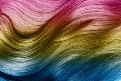 Close up of shiny multicolored hair.