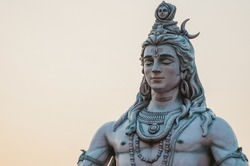 Close up of Shiva God Statue in Rishikesh at sunset