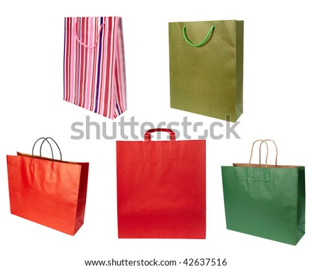 close up of shopping bag on white background. each one is in full cameras resolution