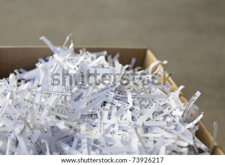 Close up of shredded waste paper strips