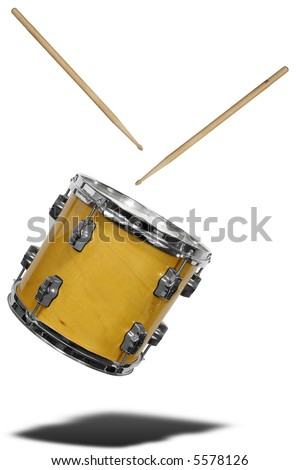close up of side view of a snare drum floating with drum sticks isolated over white