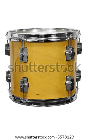 close up of side view of a snare drum isolated over white with a clipping path