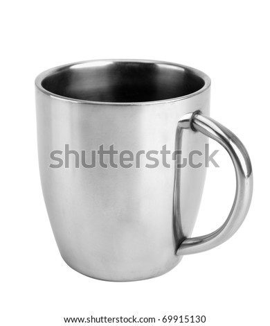 Close-up of silver thermos mug isolated on white