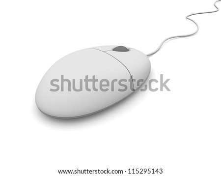 Close-up of simple wired computer mouse isolated on white background