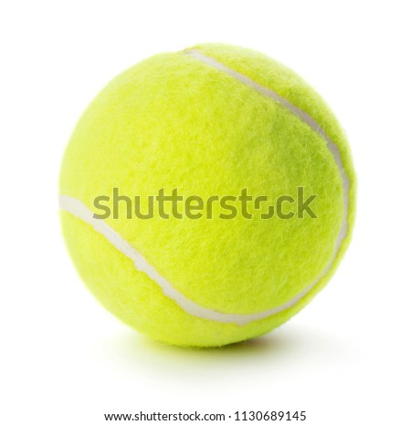 close-up of single tennis ball isolated on white background #1130689145