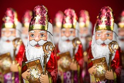 Close-up of Sinterklaas. Saint  Nicholas chocolate figurine of  Dutch character of Santa Claus
