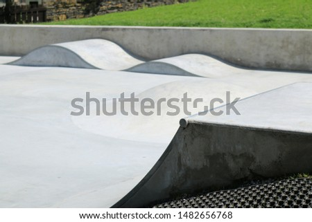 Close up of skate ramp in a new skate park. Skate ramp in a new English skate park.