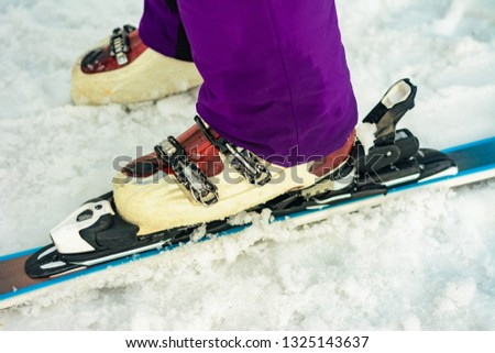 Close up of ski skier skier skier on snow white-violet color #1325143637