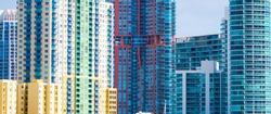 Close up of skyscrapers facades in Miami, USA