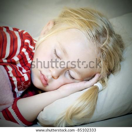 Close up of sleeping little girl