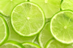 close up of sliced lime in sparkling water