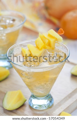 Close up of sliced mango beverage