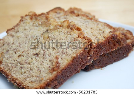 Close Up of Slices of Banana Bread - stock photo