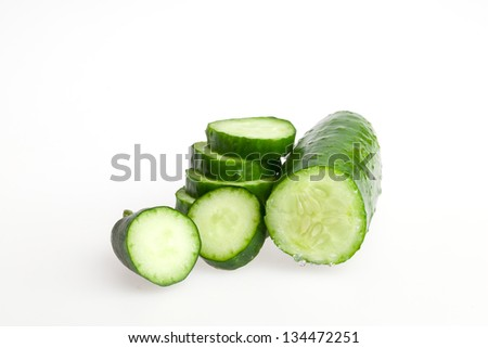 Close-up of slided Japanese cucumber