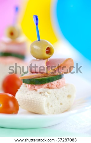 Close up of small sandwiches perfect for party food
