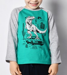 Close-up of smiling giggling frolic kid 5-6 y.o. boy in grey sweatshirt with dinosaur t-rex riding on sportscar print over gray background